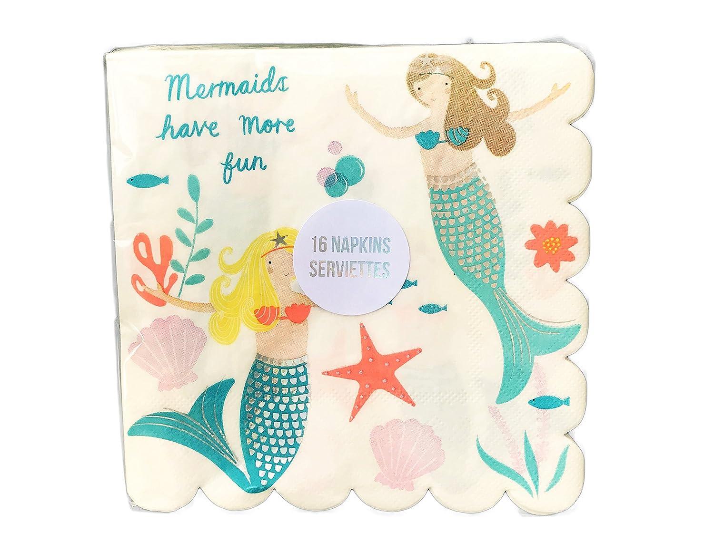 Mermaids Have More Fun Whimsical Ocean Themed Party Beverage Napkins 16 Count Meri Meri