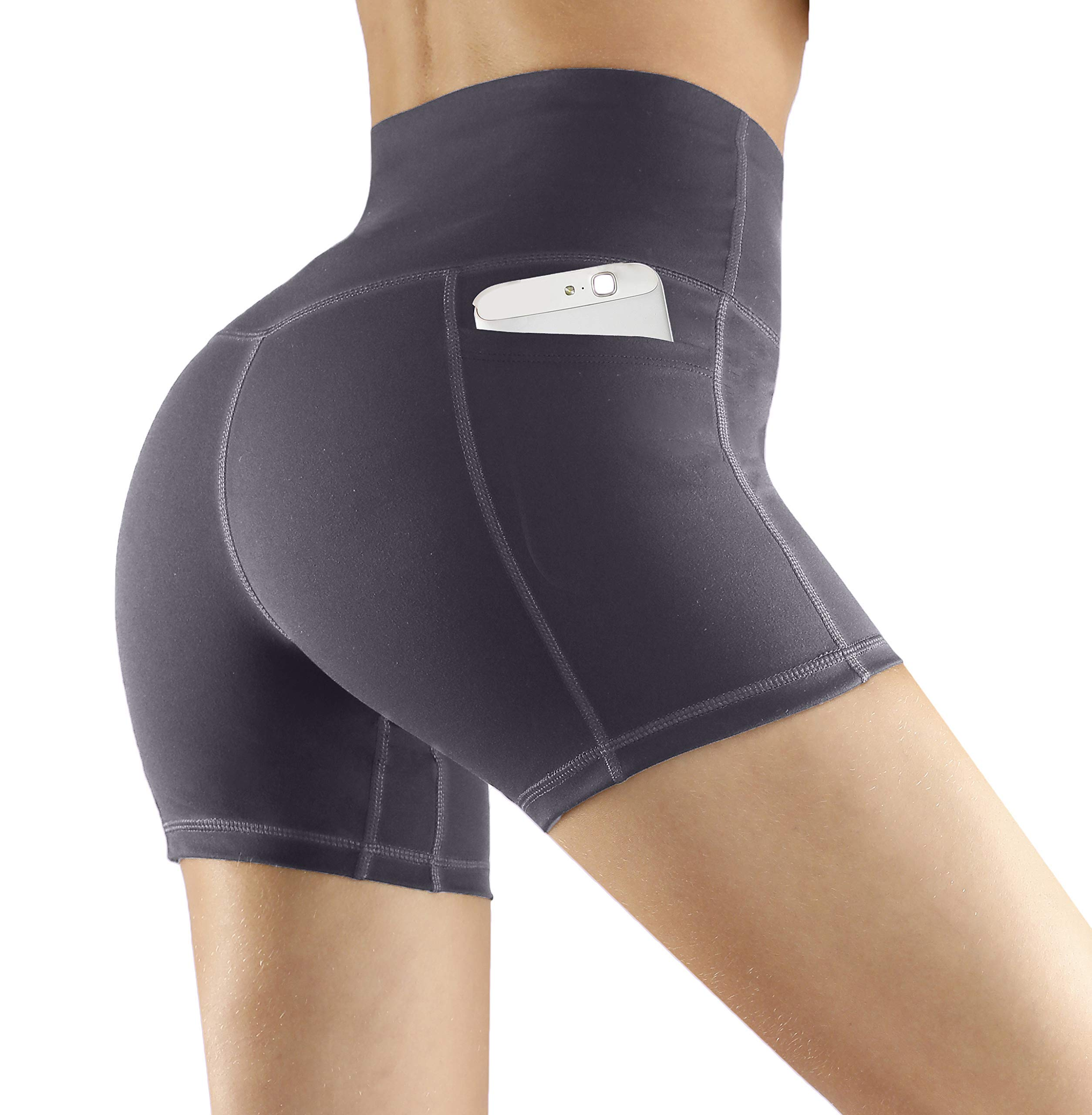 Fengbay High Waist Yoga Shorts, Workout Running Shorts with Side Pockets Tummy Control Compression Shorts for Women Grey by Fengbay
