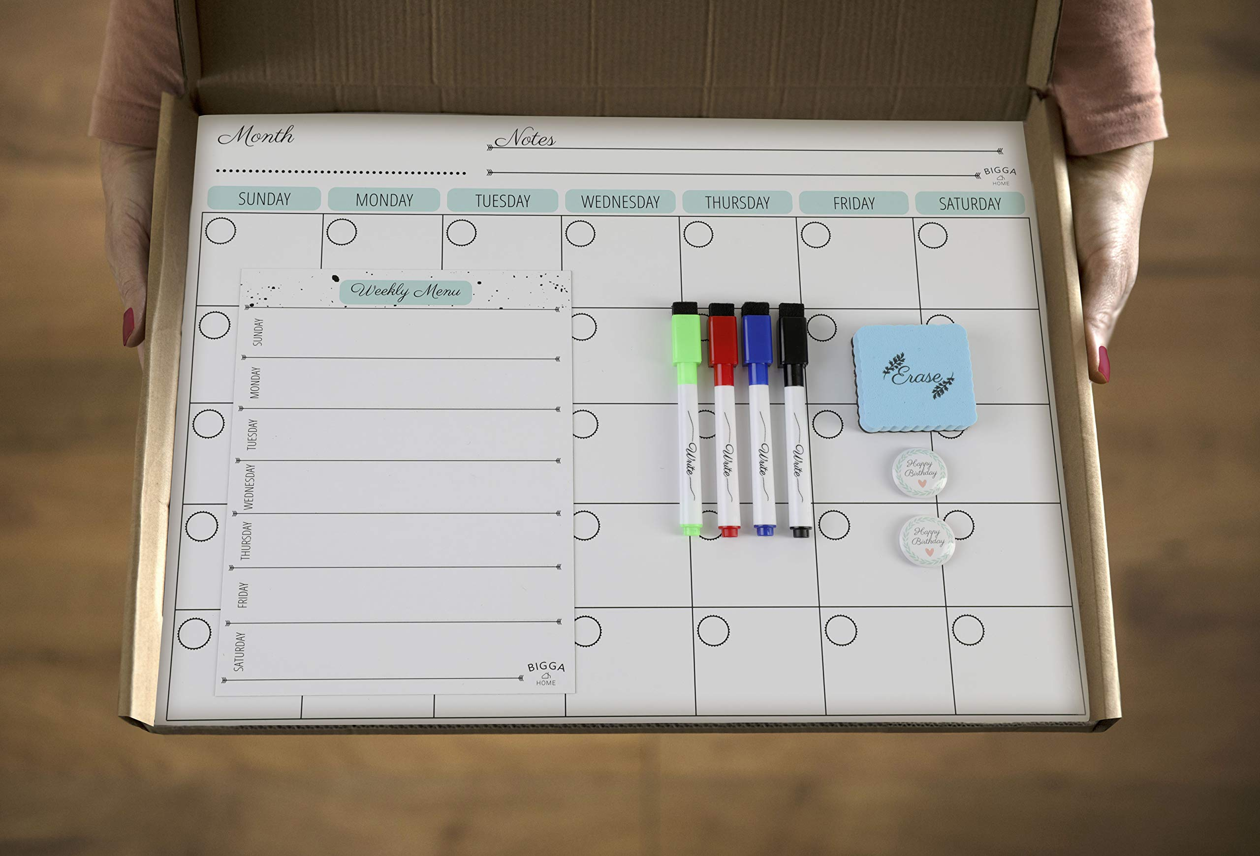 Dry Erase Monthly Magnetic Calendar Planner Set, White Board W/Extra Meal Planner, for Kitchen Refrigerator, Flexible, a Highly Designed Stiff Box for Home or Office. White, 16''x12''. by BIGGAHOME by Bigga Home (Image #7)