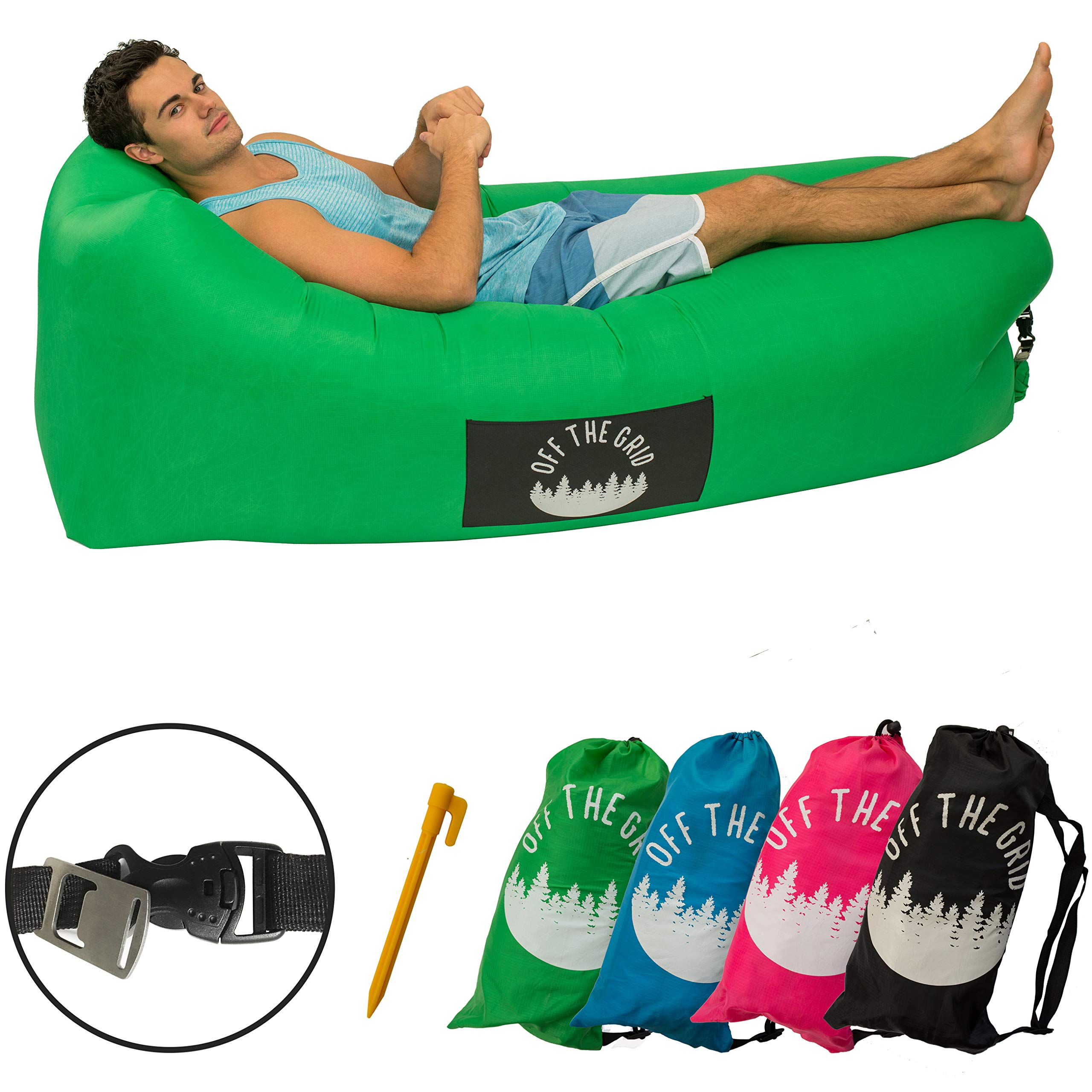 Off the Grid Inflatable Lounger - Air Sofa Wind Chair Hammock - Floating/Portable Bed for Beach, Pool, Camping, Outdoors Lazy Bag Cloud Couch (Green) by Off the Grid