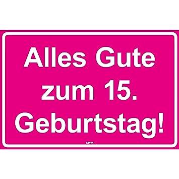 Vanva Alles Gute Zum 15 Geburtstag Kunststoff Schild Pink Mit