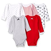 Hudson Baby Baby Cotton Long-Sleeve Bodysuits, Bows 5-Pack 12-18 Months (18M)