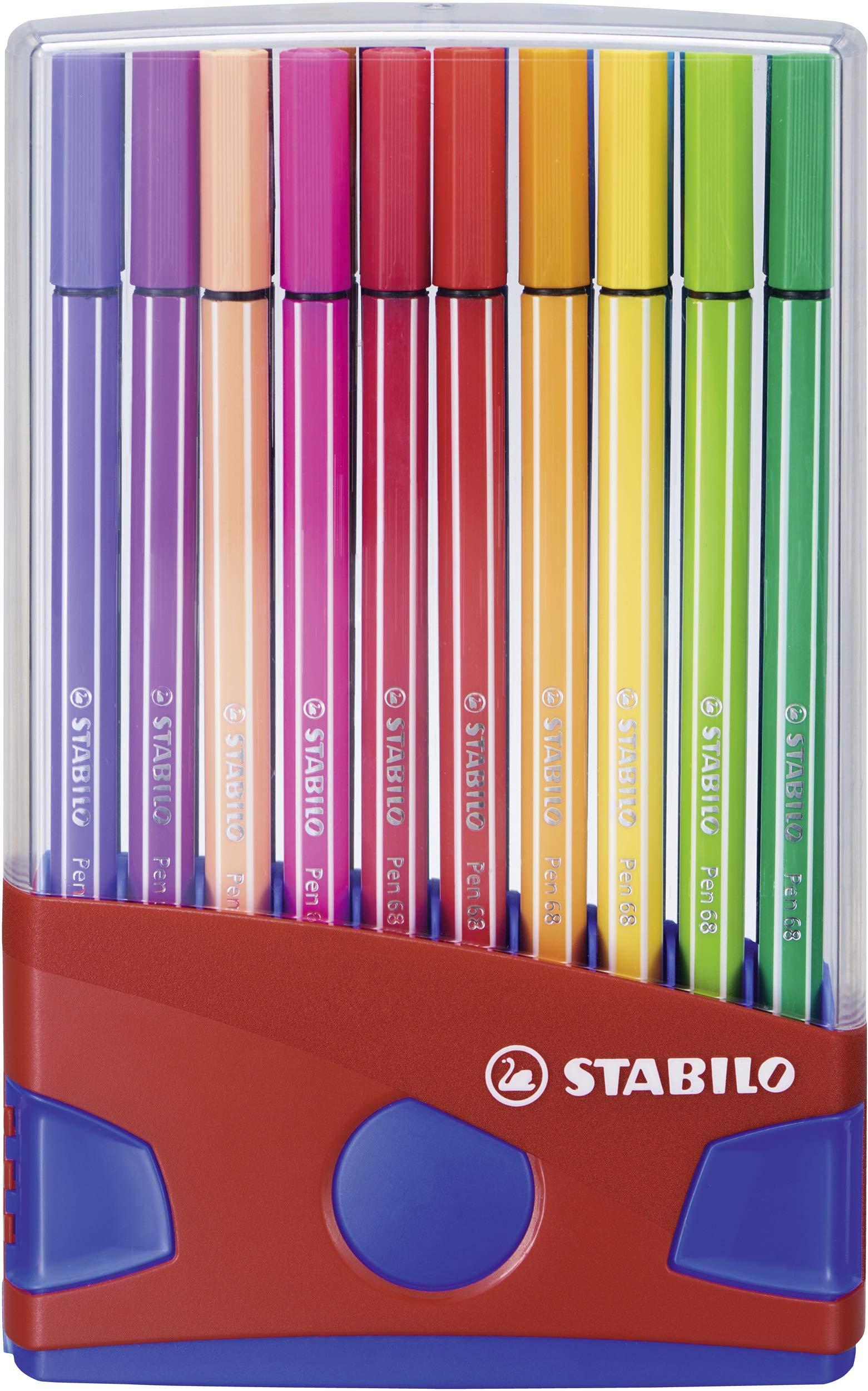 STABILO Pen 68 Fibre Tip Pens Desk Set - Assorted Colours, Pack of 20