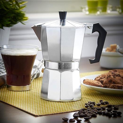 Cafetera en Aluminio por 3 tazas, Color plateado, Café italiano ...