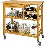 SoBuy® FKW23-N Desserte de cuisine roulante bambou, Meuble de rangement à roulettes, Chariot de service