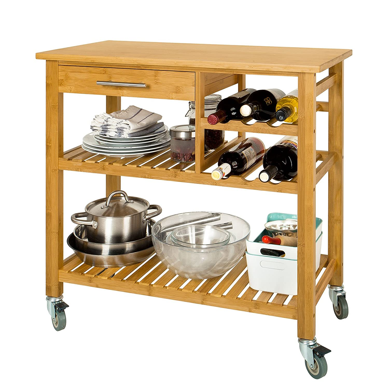 Amazon.de: Bambou Küchenwagen auf Rollen, 2 Schubladen, 2 Etagen ...