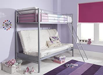 half off 59b75 7a61d Tesco NEW Mika Single High Sleeper with Small Double Futon Bunk Bed Frame -  Metal