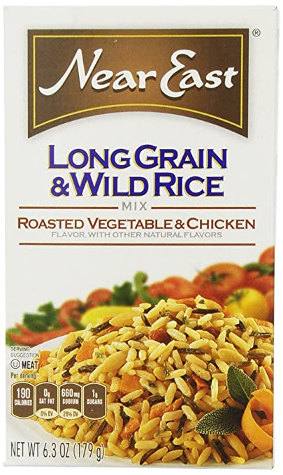 Near East Long Grain & Wild Rice Mix, Roasted Vegetable & Chicken, 6.3oz Box