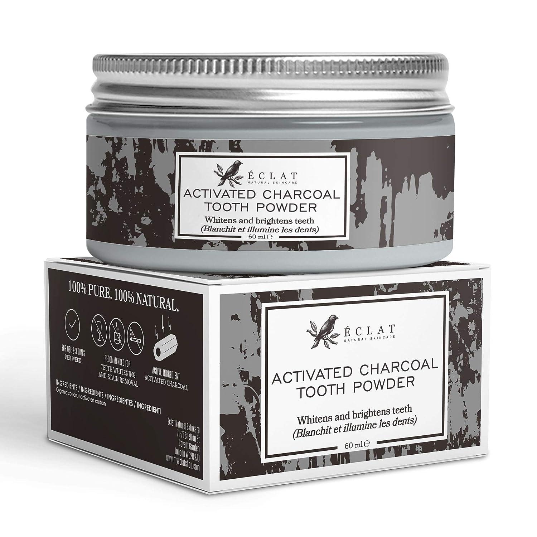 Polvo de Carbón Blanqueador de Dientes Eclat Polvo de Carbón Activo para Dientes 100% Orgánico y Vegano sin Rellenos para Dientes más Blancos y ...