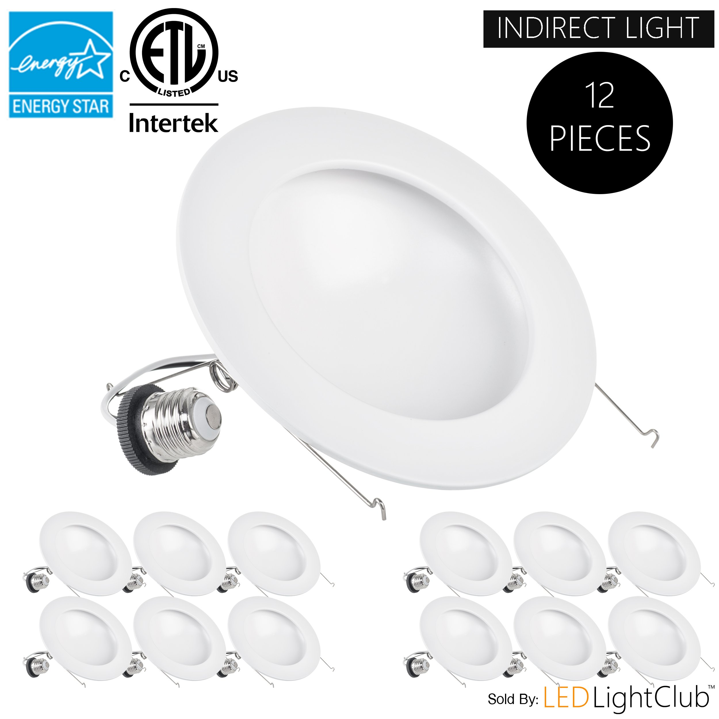 (12-Pack)- 6 inch Indirect LED Downlight Trim, 15W (100W Replacement), Dimmable, 5000K (Day Light), 1050 Lm, LED Trim, ENERGY STAR, Retrofit LED Recessed Lighting Fixture, LED Ceiling Down Light
