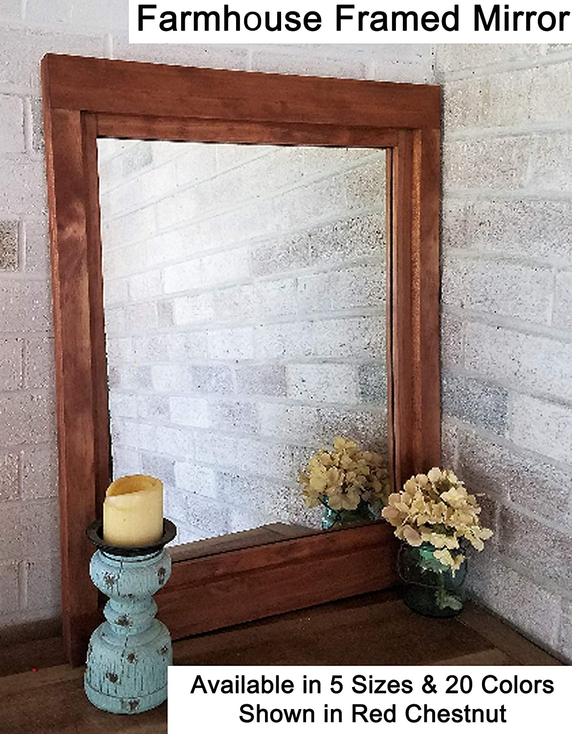Farmhouse large framed mirror available in 6 sizes and 20 stain colors shown in red chestnut large wall mirror wall mirror decorative rustic home