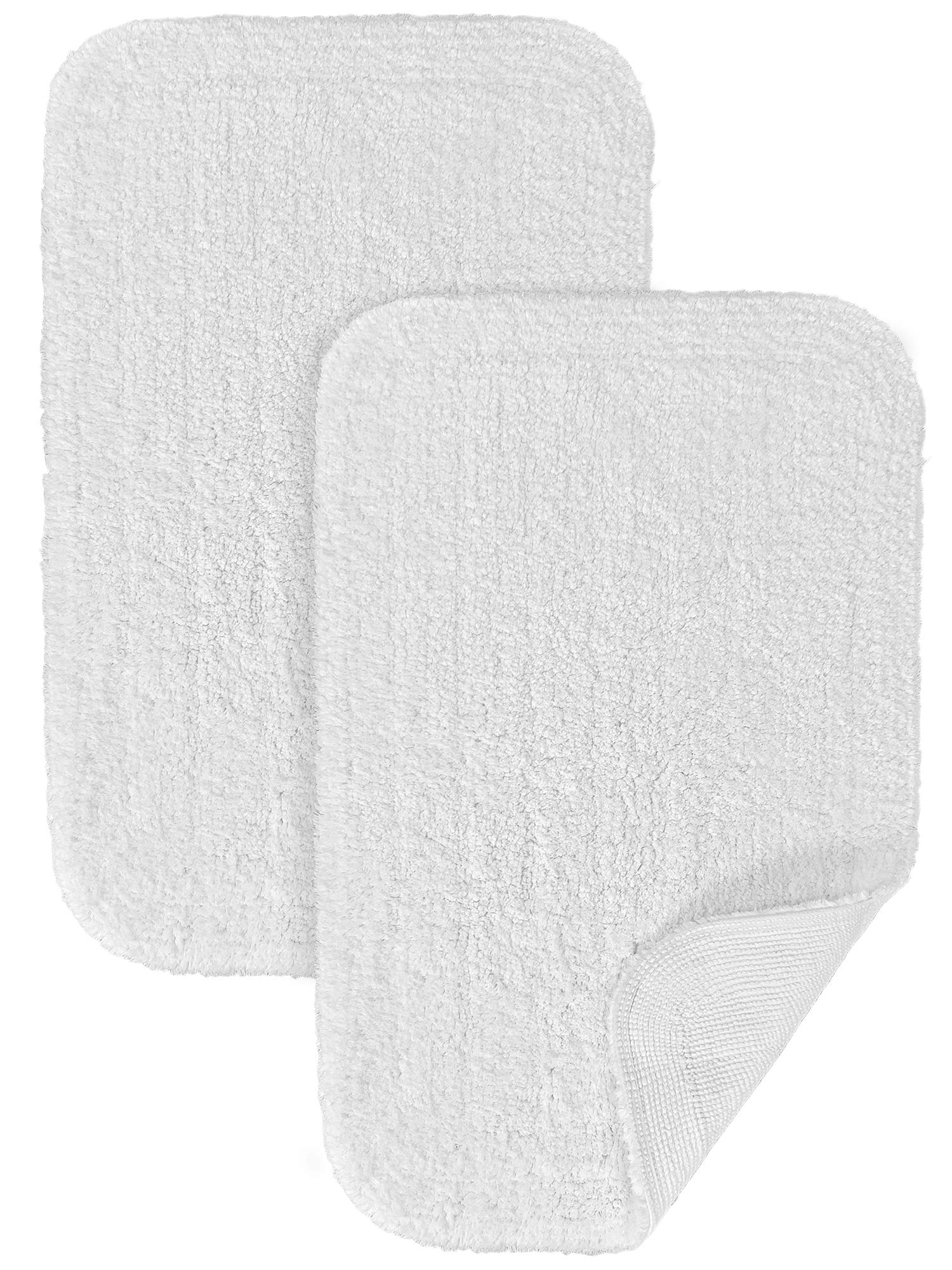 100% Cotton Super Soft and Absorbent Luxury Hotel Collection Bath Rug, White (19.5 x 28 inch) Set of 2