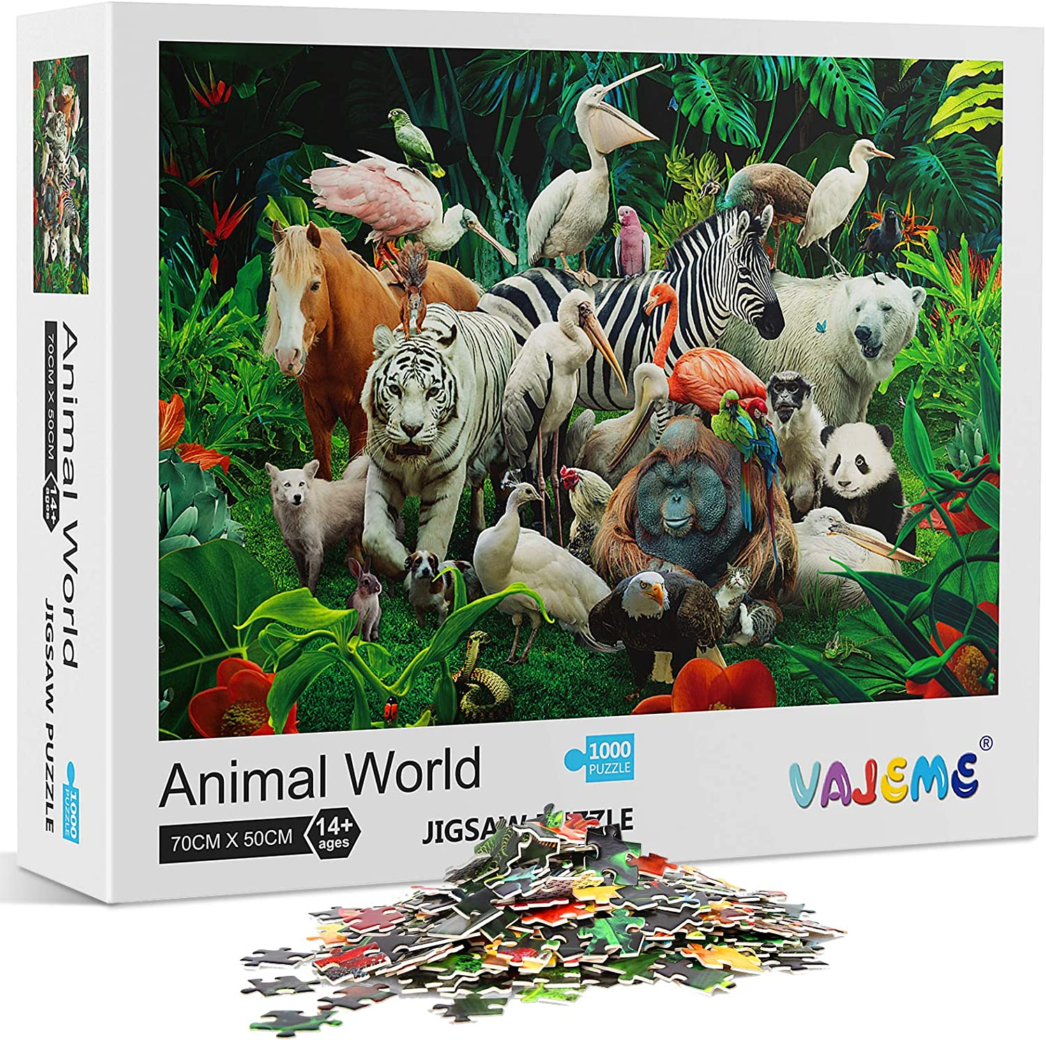 Puzzles for Adults 1000 Piece Jigsaw Puzzles 1000 Pieces for Adults Kids Large Puzzle Game Toys Gift Animal World 27 x 20