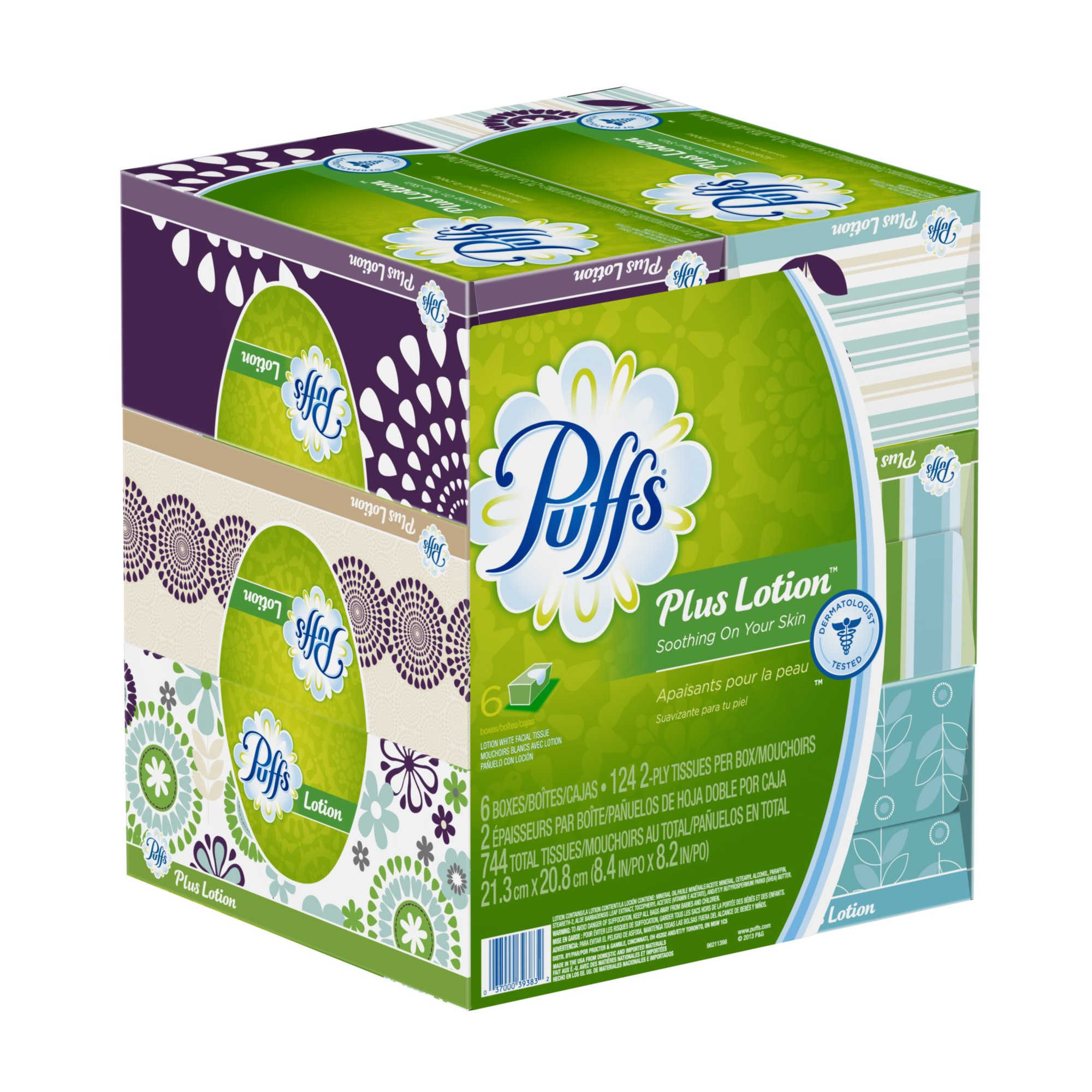Puffs Plus Lotion Facial Tissues; 6 Family Boxes; 124 Tissues per Box product image