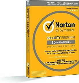 Norton Security Premium - Antivirus, PC/Mac/iOS/Android, 10 dispositivos, 1 año