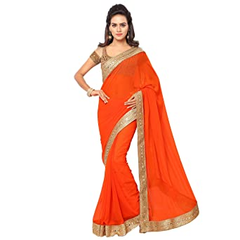 Chirag Sarees Designer Party Wear Orange Embroidered Saree available at Amazon for Rs.1999