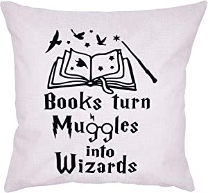 Arundeal 18 x 18 Inches Books Theme Decorative Throw Pillow Case Cushion Cover - Wizards