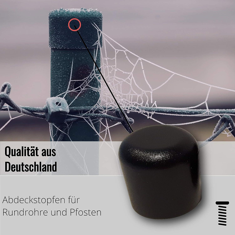 2 Kappen schwarz f/ür Rundrohre//Rundst/äbe//Pfostenkappen