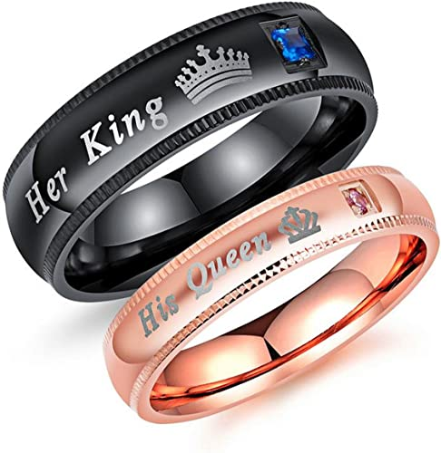 Couple/'s Matching Ring Her King or His Queen Stainless Steel Wedding Band