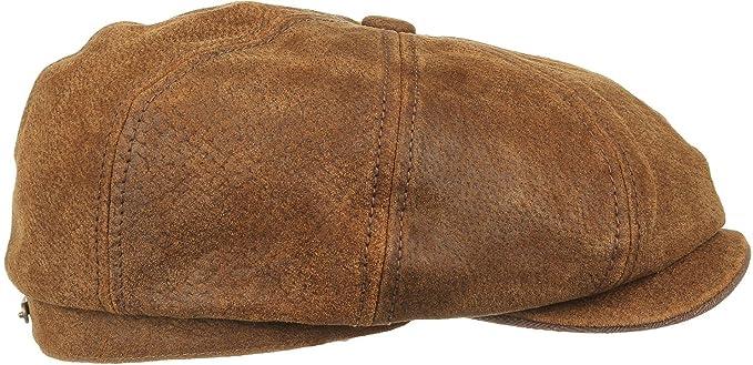fb9d3bad Stetson Leather Burney Bakerboy/Newsboy Cap (6897101): Amazon.co.uk:  Clothing