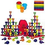 Stacking Peg Board Set Toy | JUMBO PACK | 60 Pegs & Board + FREE Stacking Cups + FREE Colorful Board + FREE Storage Bag | STE