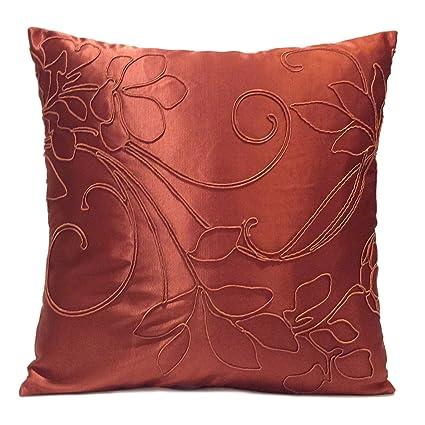 Amazon Copper Color Rust Satin Blend Decorative Throw Pillow Custom Rust Colored Decorative Pillows
