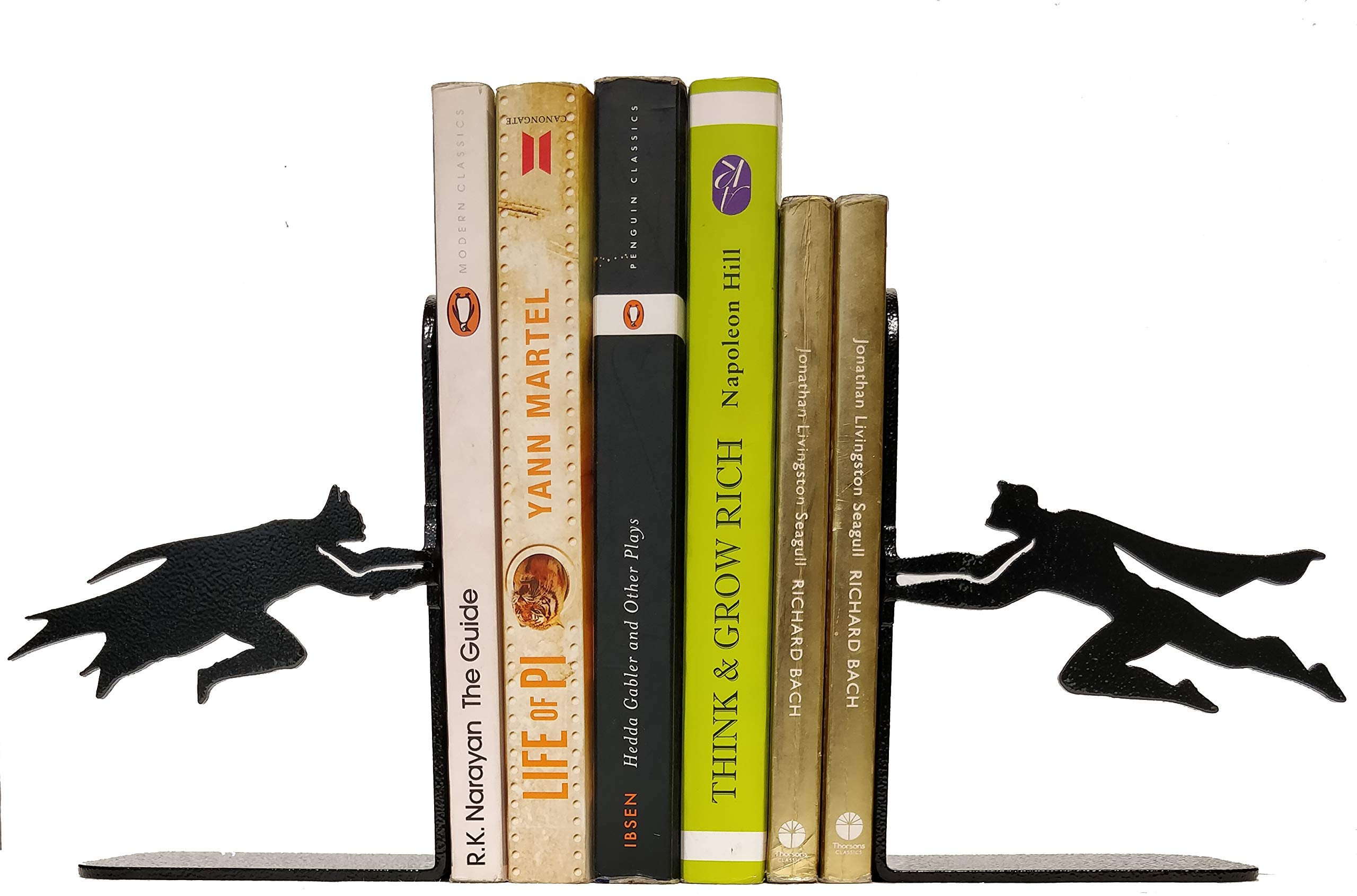 HeavenlyKraft Superheros Decorative Metal Bookend, Non Skid Book End, Book Stopper for Home/Office Decor/Shelves, Children Room Décor, 5.9 X 3.9 X 3.14 Inch Per Piece (Weight 2.5 Pound/Pair)