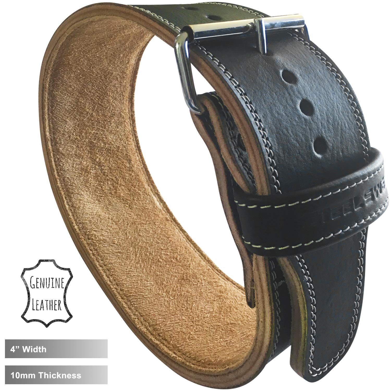 Steel Sweat Weight Lifting Belt - 4 Inches Wide by 10mm - Single Prong Powerlifting Belt That's Heavy Duty - Genuine Cowhide Leather - Medium Texus by Steel Sweat (Image #4)