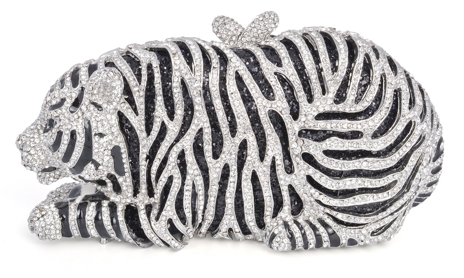 mossmon Luxury Crystal Clutches For Women Tiger Evening Bag (Silver) by Mossmon (Image #1)