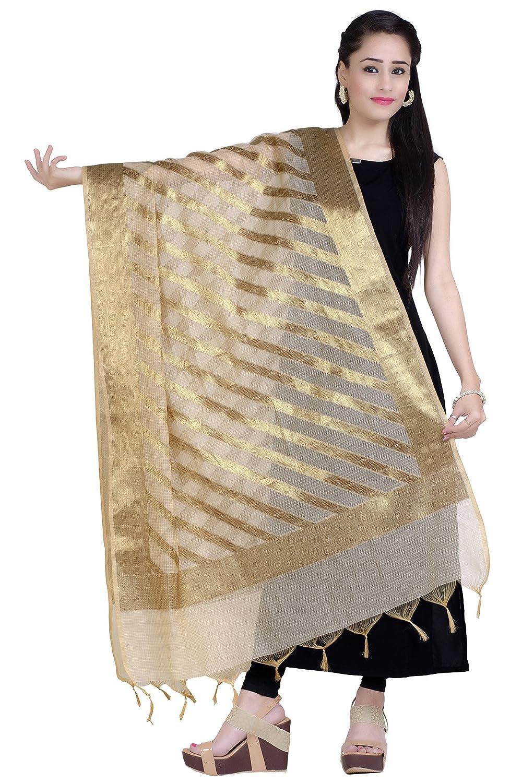 Chandrakala Women's Handwoven Tussar Gold Zari Work Banarasi Dupatta Stole Scarf(D117) D135BLA