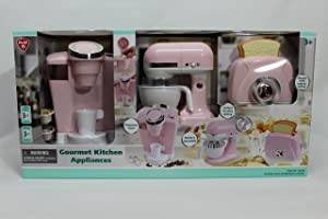 PlayGo Pretend Play Gourmet Kitchen Appliance Set - Single Serve Coffee Maker, Mixer & Toaster, 3 Piece, Pink