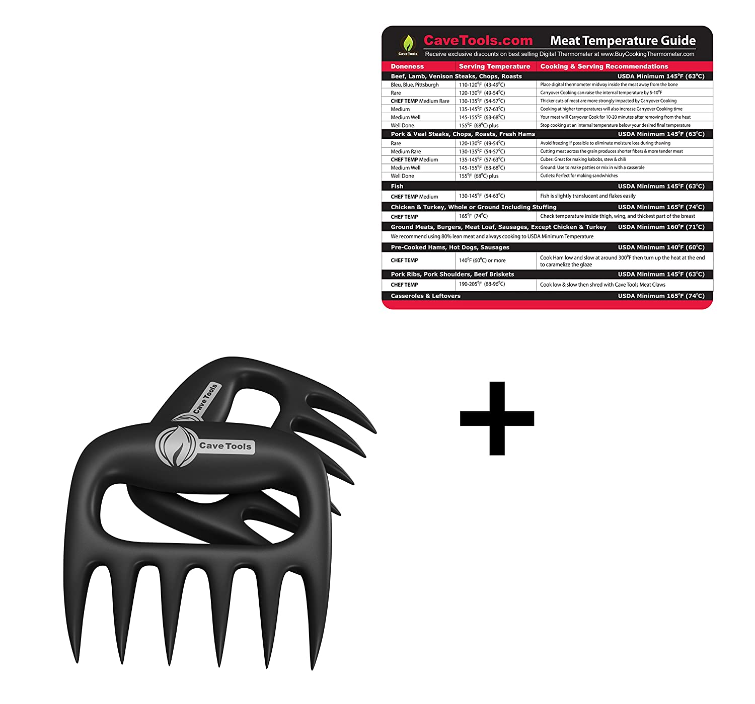 Temperature Magnet (lg) + Pulled Pork Shredder Claws - STRONGEST BBQ MEAT FORKS - Shredding Handling & Carving Food - For Pulling Brisket from Grill Smoker or Slow Cooker - BPA Free Barbecue Paws