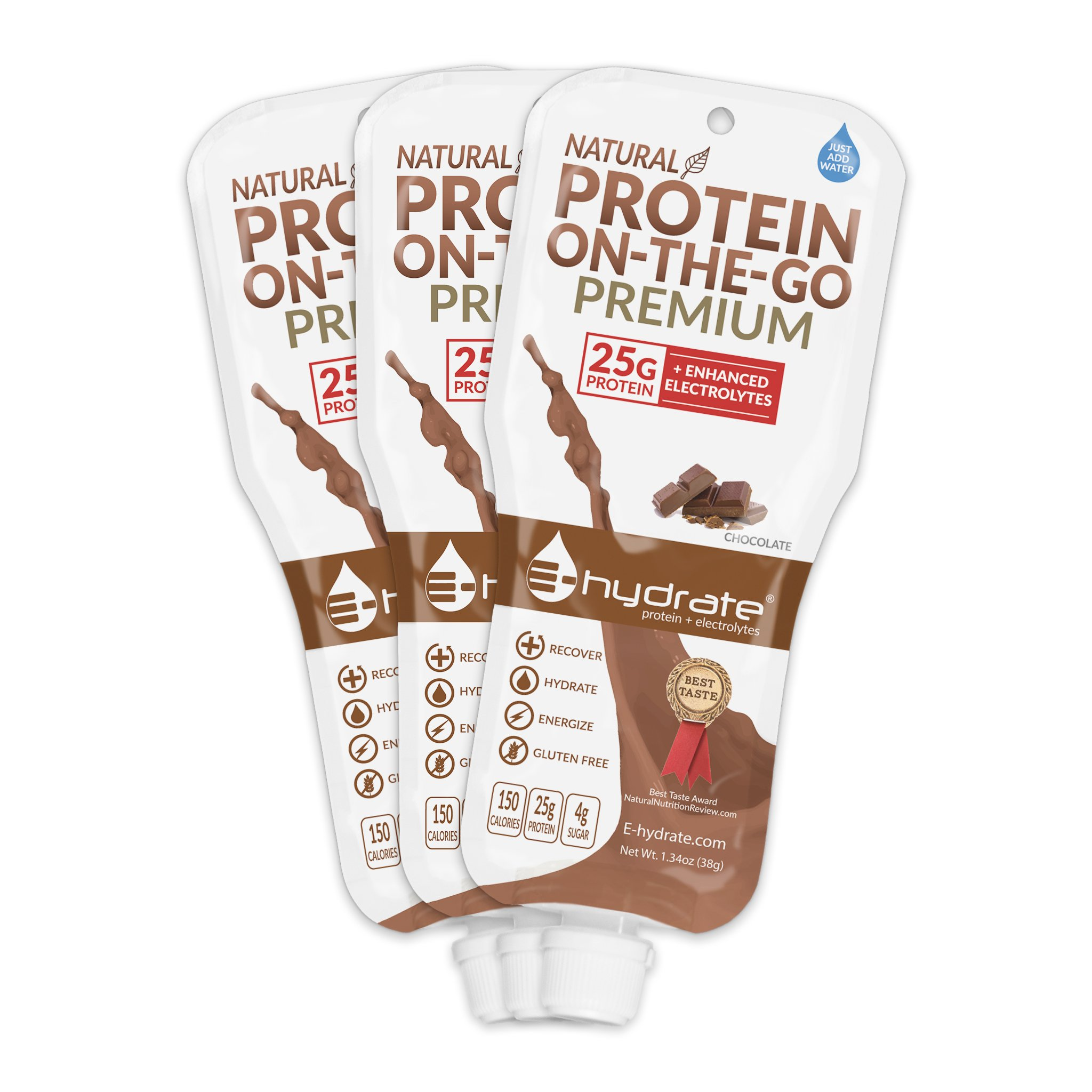 E-hydrate Protein On-the-Go PREMIUM, Chocolate, 3-count