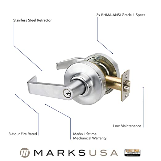 MARKS SURVIVOR SERIES SATIN FINISH CYLINDRICAL LEVER LOCKSETS 175RAB//26D-F21