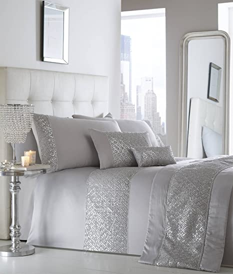 Letto Moderno Con Strass.Portfolio Shimmer Silver Duvet Set King Amazon It Casa E Cucina