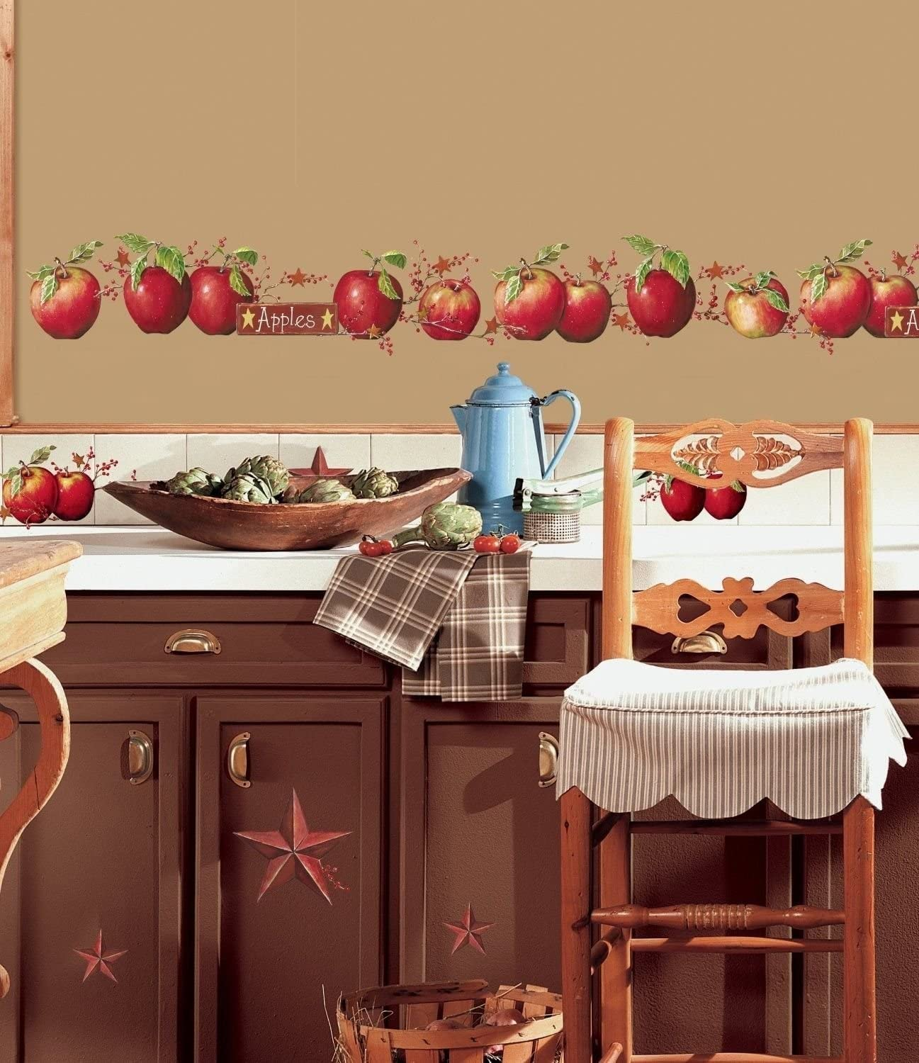 Apples 8 Big Wall Decals Country Stars Border Kitchen Stickers