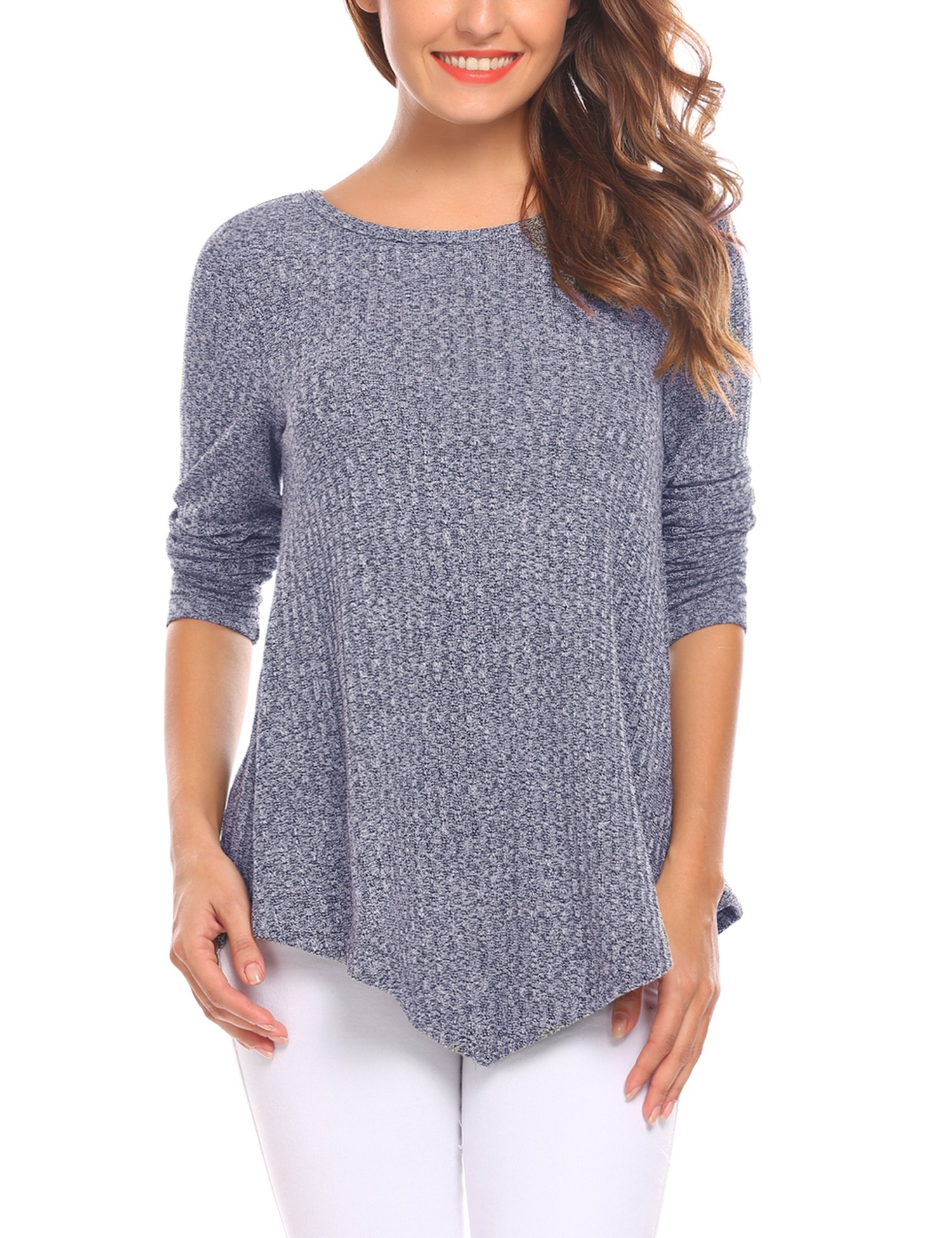 Zeagoo Women's Knitted Long Sleeve Sweater Asymmetrical Hem Pullover Tunic Tops (Navy Blue, XXL)