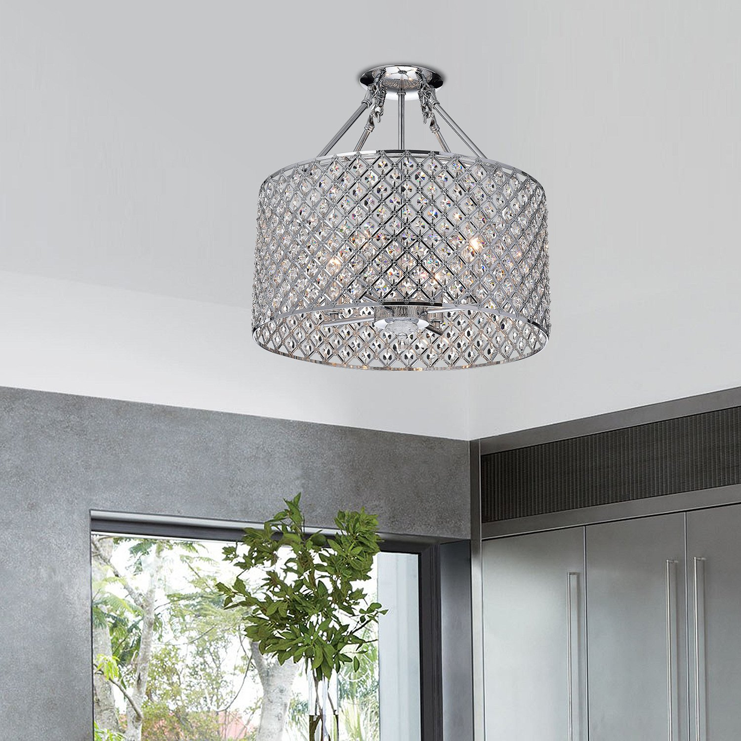 Edvivi esg802ch marya 4 light drum semi flush mount crystal edvivi esg802ch marya 4 light drum semi flush mount crystal chandelier chrome finish round amazon arubaitofo Choice Image