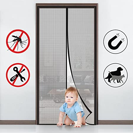 MYCARBON Fly Screen Door KEEP INSECTS OUT Mosquito Door Screen Easy To  Install Without Drilling Top