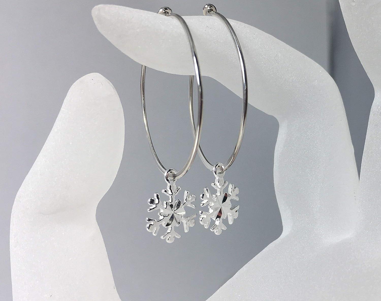 Snowflake Hoop Earrings, Sterling Silver Charm, Large Ear Wires