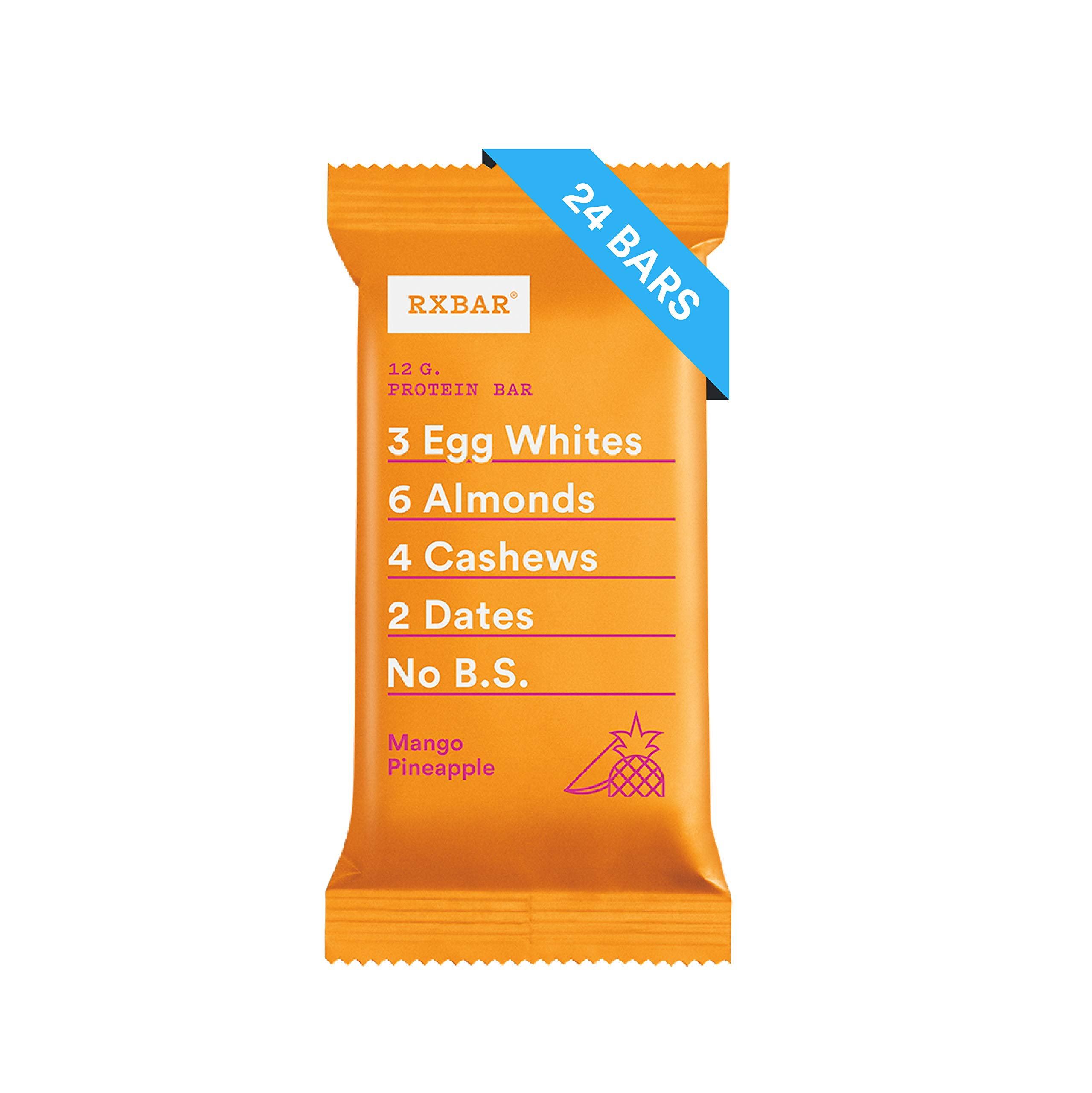 RXBAR Real Food Protein Bar, Mango Pineapple, Gluten Free, 1.83oz Bars, 24 Count