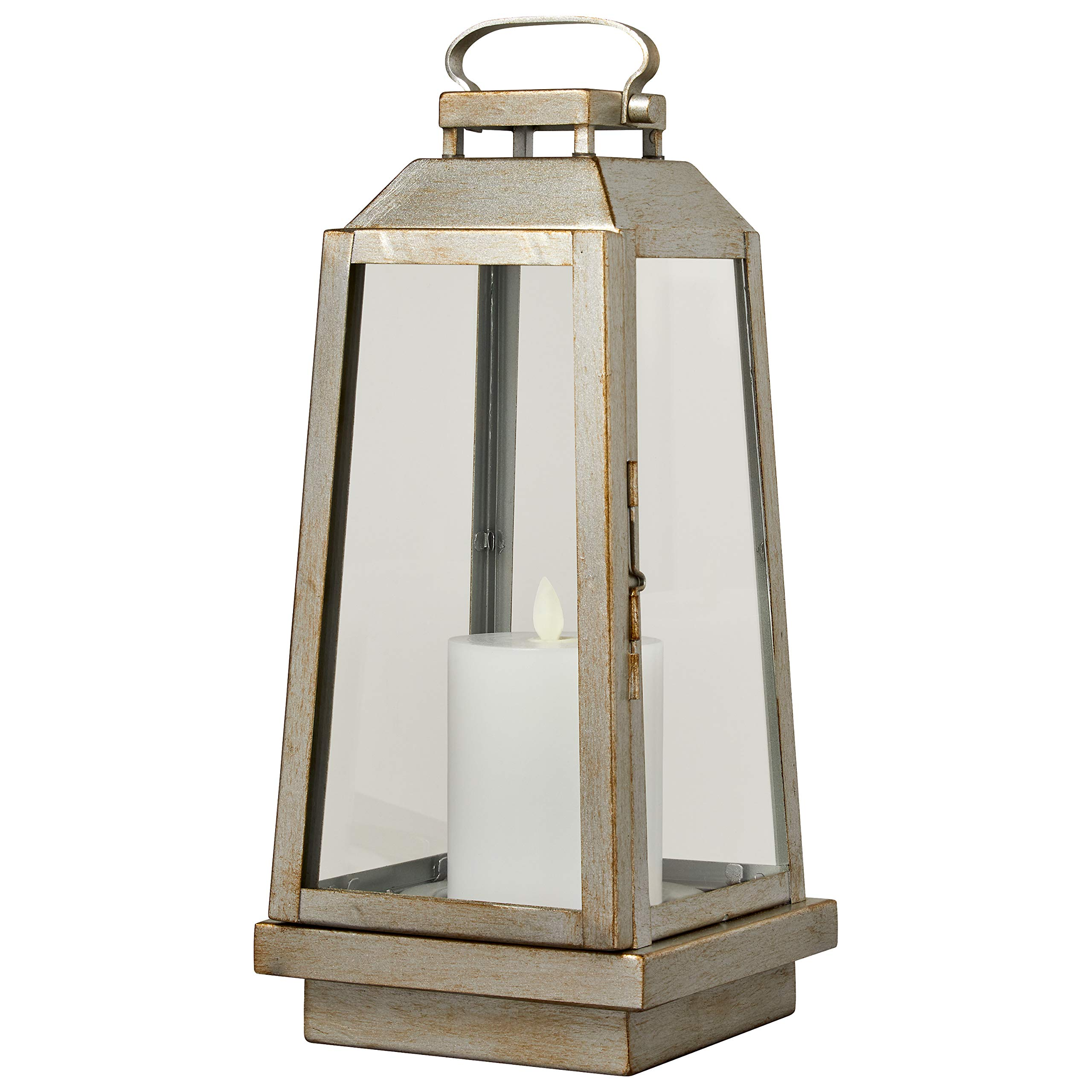 Stone & Beam Modern Traditional Decorative Metal and Glass Lantern with Candle, 14''H, Champagne Silver, For Indoor Outdoor Use
