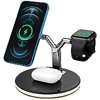 Cargador inalámbrico magnético rápido 3 en 1 de 25W de Potencia, Compatible con QI, Compatible con iPhone 12 Pro MAX…