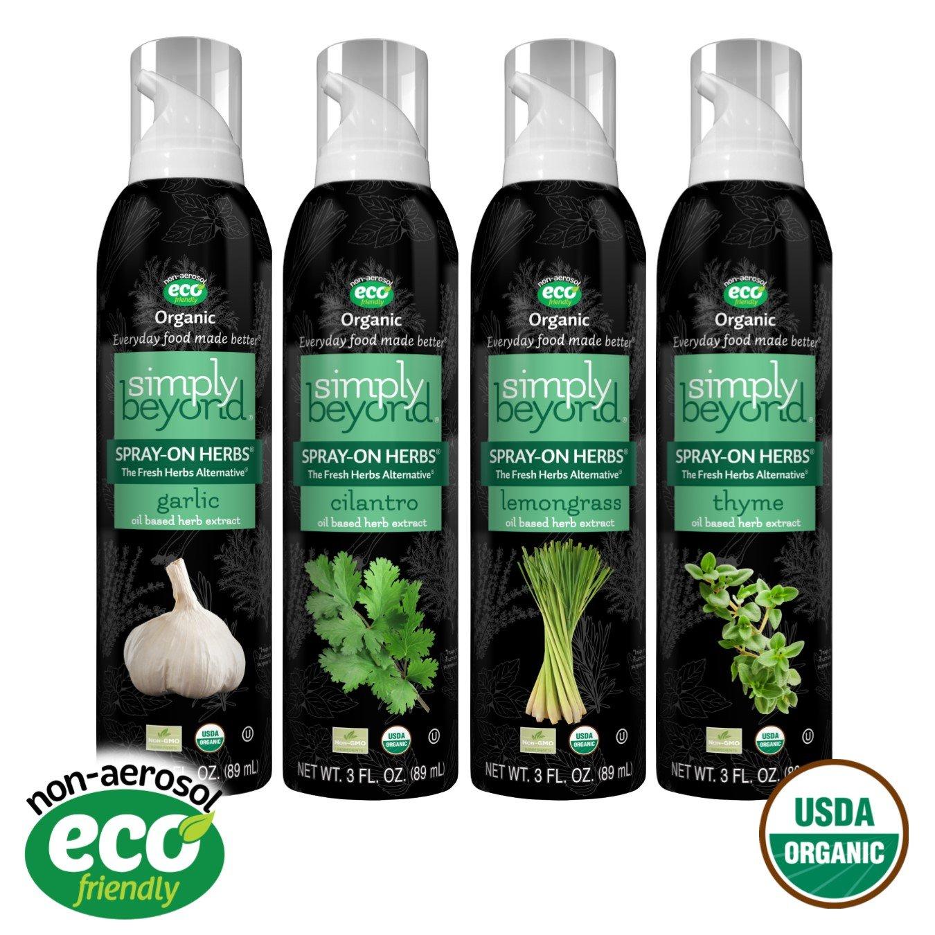 Simply Beyond, Organic Spray-On Herbs 4-Pack (Garlic, Cilantro, Lemongrass, Thyme), 3 Fl. Oz