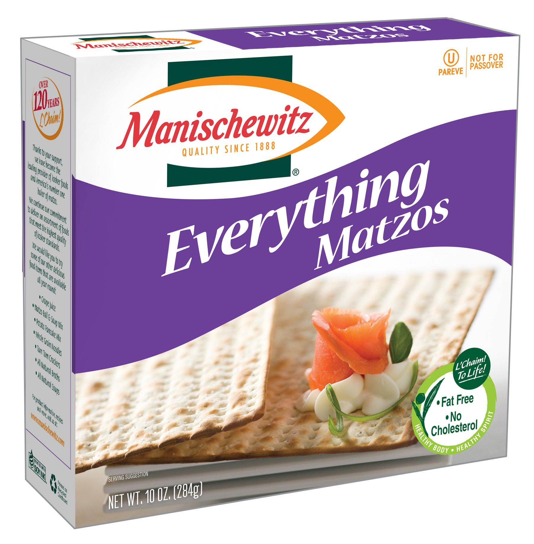 MANISCHEWITZ Everything! Poppy, Salt, Onion, Garlic Matzo, 10-Ounce Boxes (Pack of 8)