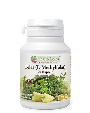 017daa4c238 Folat (L-Methylfolat) 1000μg x 90 Kapseln | 5-MTHF Aktive Form von  Folsäure/Vitamin B9 | Unterstützt das normale mütterliche Gewebewachstum ...