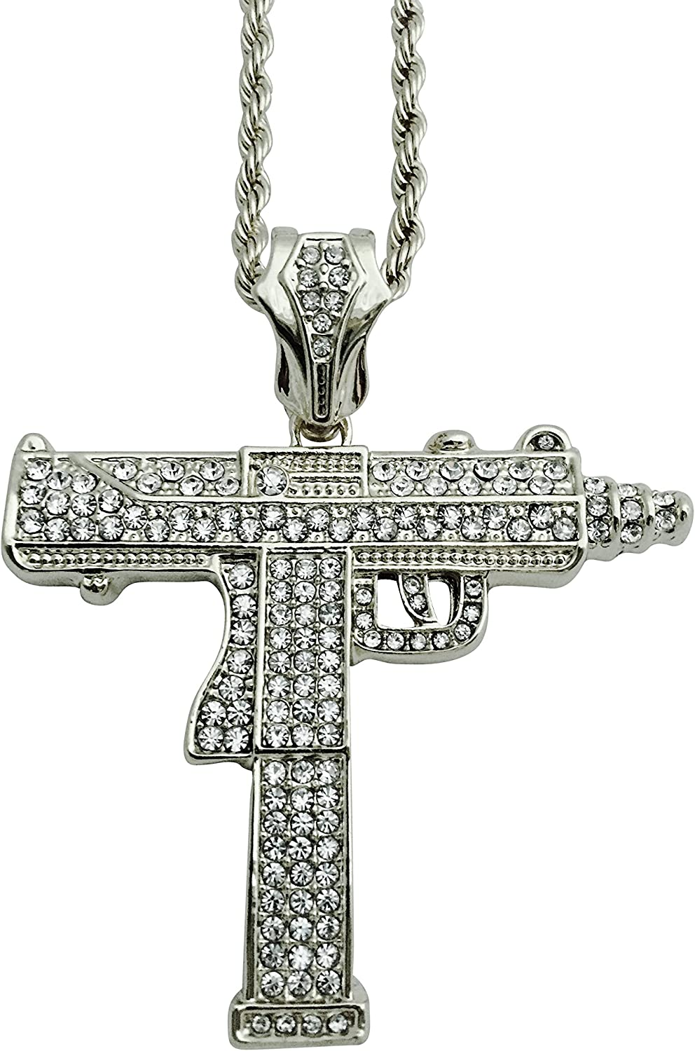 Silver tone Sniper Rifle Gun Charms Pendant Craft Cards Hip Hop bling Tag