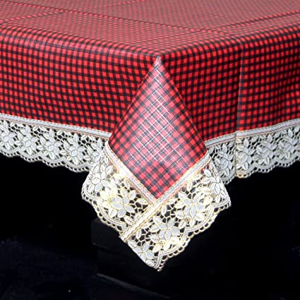 Kuber Industries Waterproof PVC 4 Seater Center Table Cover - Maroon