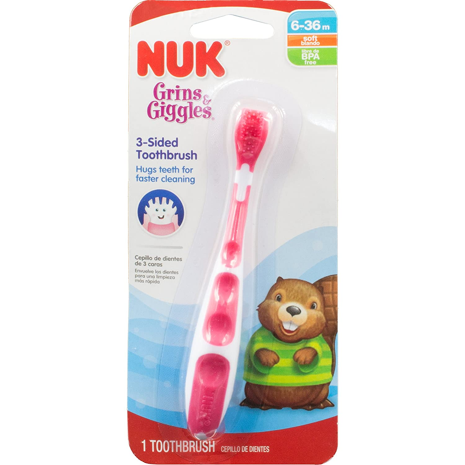 Amazon.com: NUK Grins & Giggles 3-Sided Toothbrush, Toddler, Colors May Vary (Discontinued by Manufacturer): Baby
