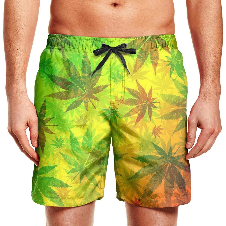 CCBING Marijuana Weed Leaves Design Mens Summer Beach Swim Trunk 3D Printed
